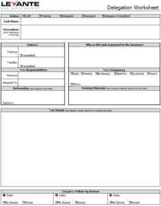 Delegation Worksheet Image