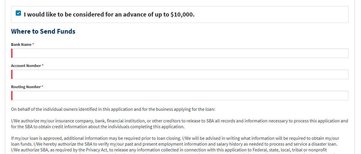 SBA Loan Advance